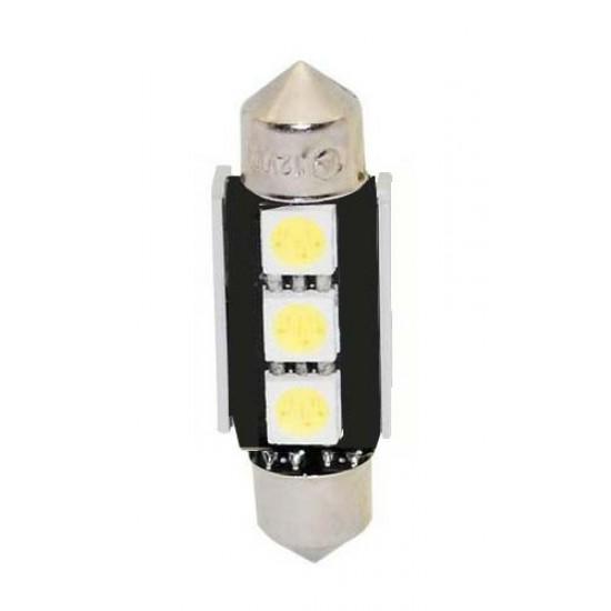 LED žiarovka 12V, sufit (39mm) biela, 3LED 3SMD
