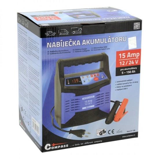 Nabíjačka mikroprocesor 15Amp 12/24V PB/GEL LCD display