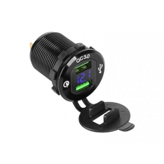 Nabíjačka USB Peiying PY-CHR0004 s QC a meračom napätia