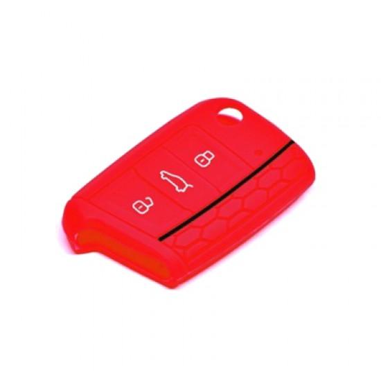 Obal na kľúče ŠKODA OCTAVIA III 2012 a viac RED silikón