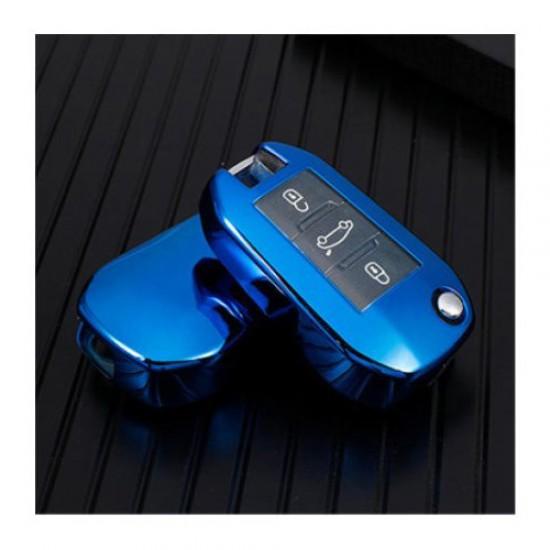 Obal na kľúče PEUGEOT 208/307/308 silikón modrý