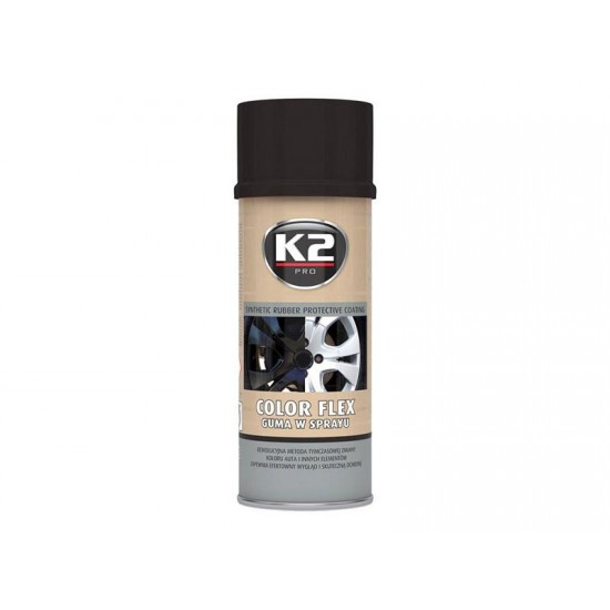 Kaučuk syntetický K2 Color Flex 400ml, čierny lesklý