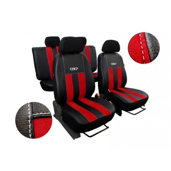 Autopoťahy kožené s alcantarou GT červené